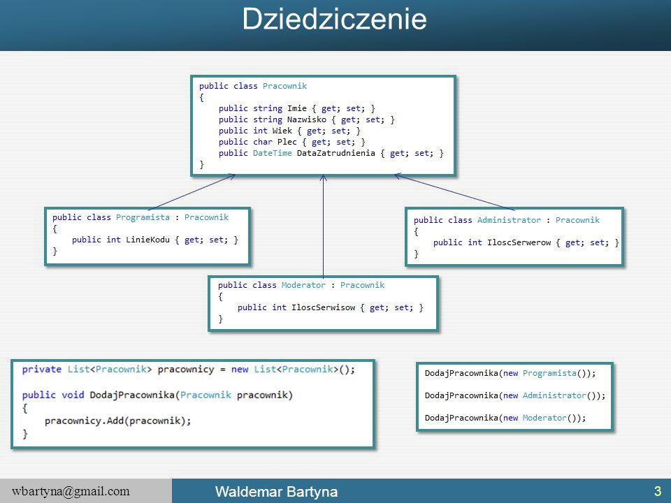 wbartyna@gmail.com Waldemar Bartyna Podsumowanie Interfejsy stanowią fundamentalny aspekt platformy.NET Framework.