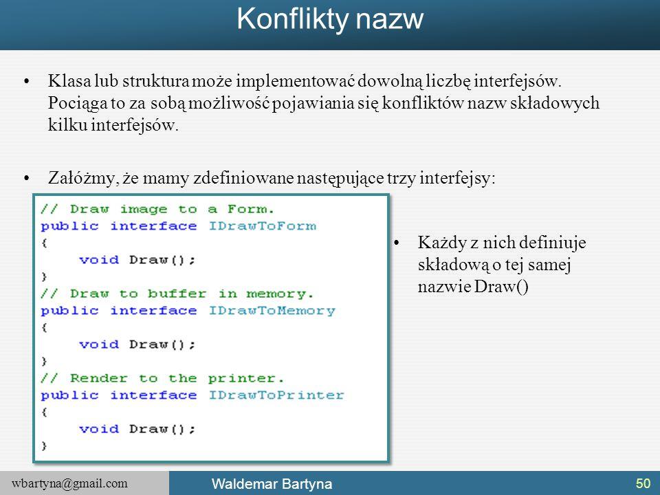 wbartyna@gmail.com Waldemar Bartyna Konflikty nazw Klasa lub struktura może implementować dowolną liczbę interfejsów. Pociąga to za sobą możliwość poj