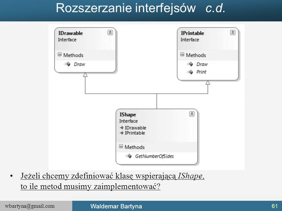 wbartyna@gmail.com Waldemar Bartyna Rozszerzanie interfejsów c.d. Jeżeli chcemy zdefiniować klasę wspierającą IShape, to ile metod musimy zaimplemento