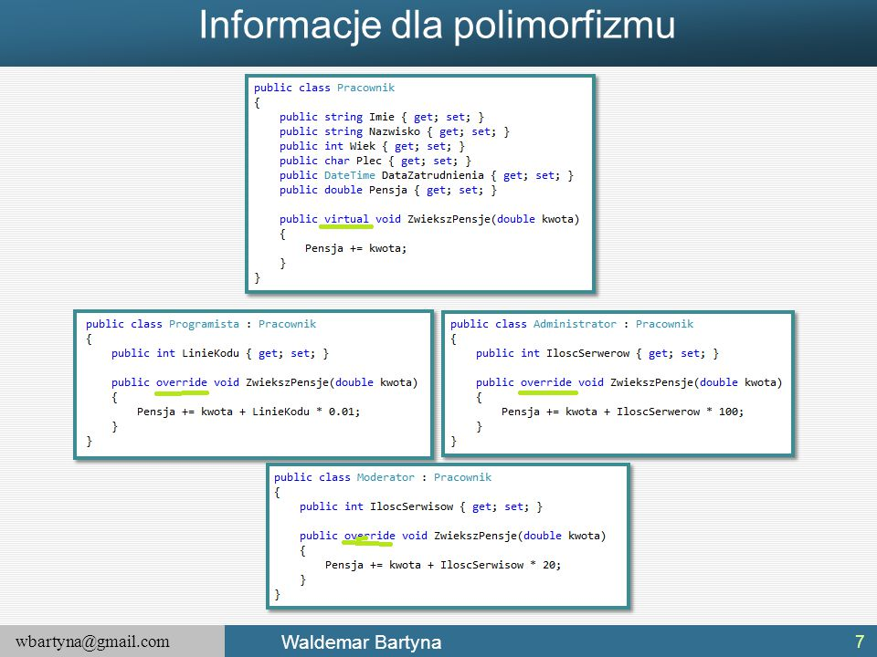 wbartyna@gmail.com Waldemar Bartyna Interfejs a klasa abstrakcyjna Klasa oznaczona jako abstrakcyjna może definiować dowolną liczbę abstrakcyjnych składowych, tworząc w ten sposób interfejs polimorficzny dla klas pochodnych.