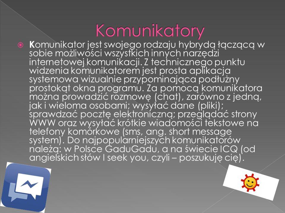  K omunikator jest swojego rodzaju hybrydą łączącą w sobie możliwości wszystkich innych narzędzi internetowej komunikacji. Z technicznego punktu widz