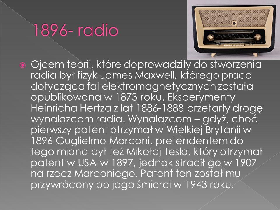  Ojcem teorii, które doprowadziły do stworzenia radia był fizyk James Maxwell, którego praca dotycząca fal elektromagnetycznych została opublikowana w 1873 roku.