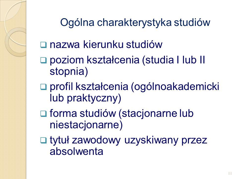  nazwa kierunku studiów  poziom kształcenia (studia I lub II stopnia)  profil kształcenia (ogólnoakademicki lub praktyczny)  forma studiów (stacjo
