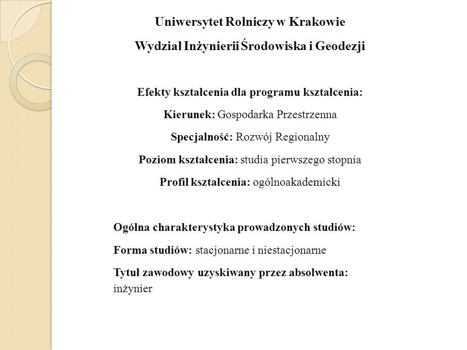 Uniwersytet Rolniczy w Krakowie Wydział Inżynierii Środowiska i Geodezji Efekty kształcenia dla programu kształcenia: Kierunek: Gospodarka Przestrzenn
