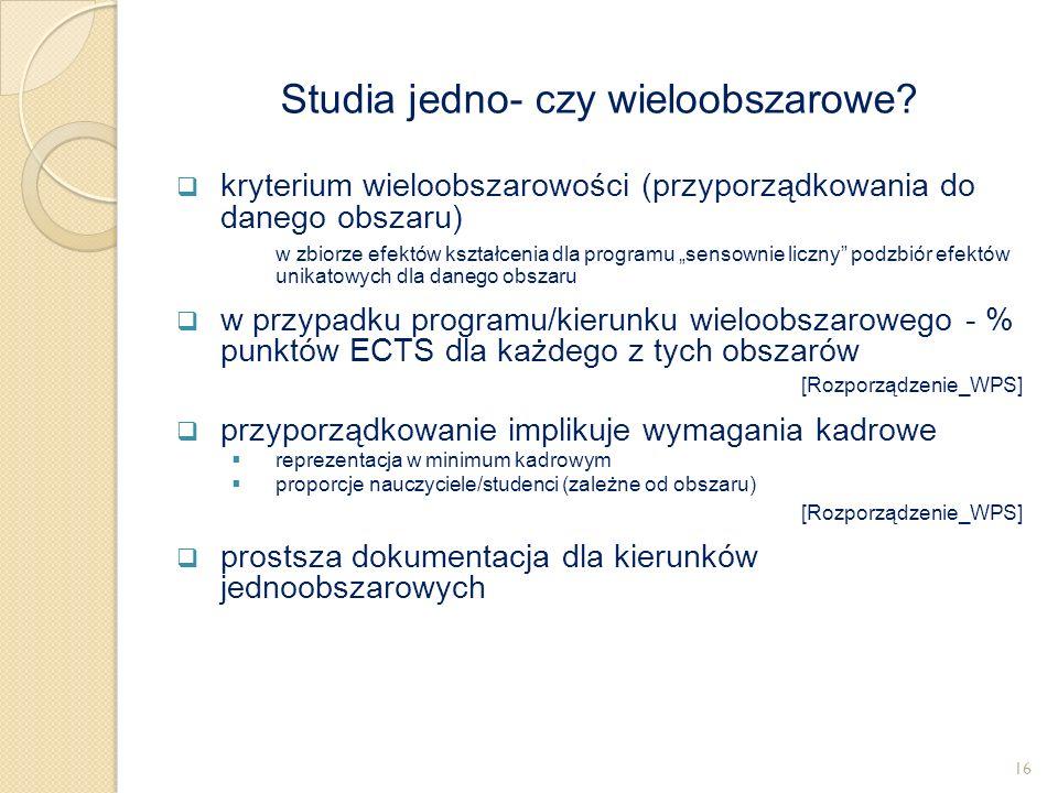 """ kryterium wieloobszarowości (przyporządkowania do danego obszaru) w zbiorze efektów kształcenia dla programu """"sensownie liczny"""" podzbiór efektów uni"""