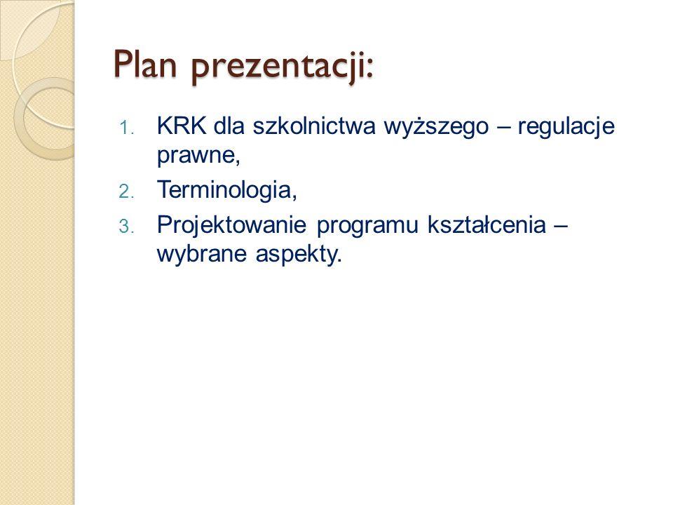Plan prezentacji: 1. KRK dla szkolnictwa wyższego – regulacje prawne, 2. Terminologia, 3. Projektowanie programu kształcenia – wybrane aspekty.