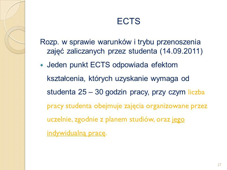Rozp. w sprawie warunków i trybu przenoszenia zajęć zaliczanych przez studenta (14.09.2011) Jeden punkt ECTS odpowiada efektom kształcenia, których uz