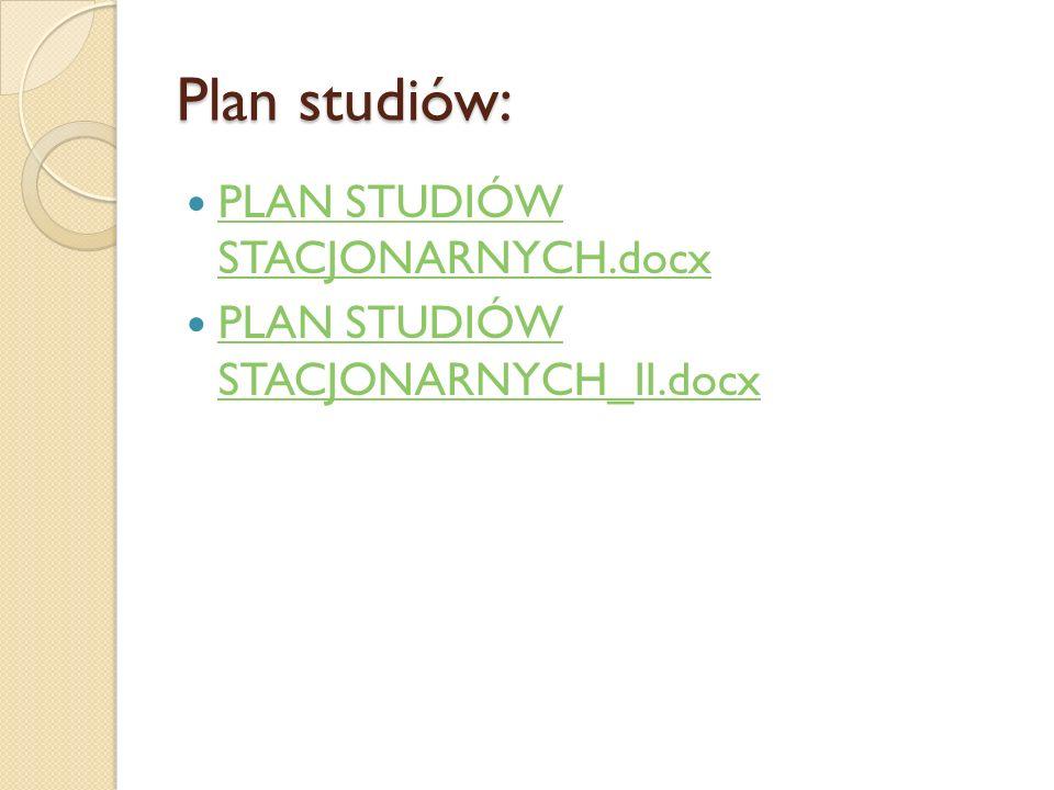 Plan studiów: PLAN STUDIÓW STACJONARNYCH.docx PLAN STUDIÓW STACJONARNYCH.docx PLAN STUDIÓW STACJONARNYCH_II.docx PLAN STUDIÓW STACJONARNYCH_II.docx