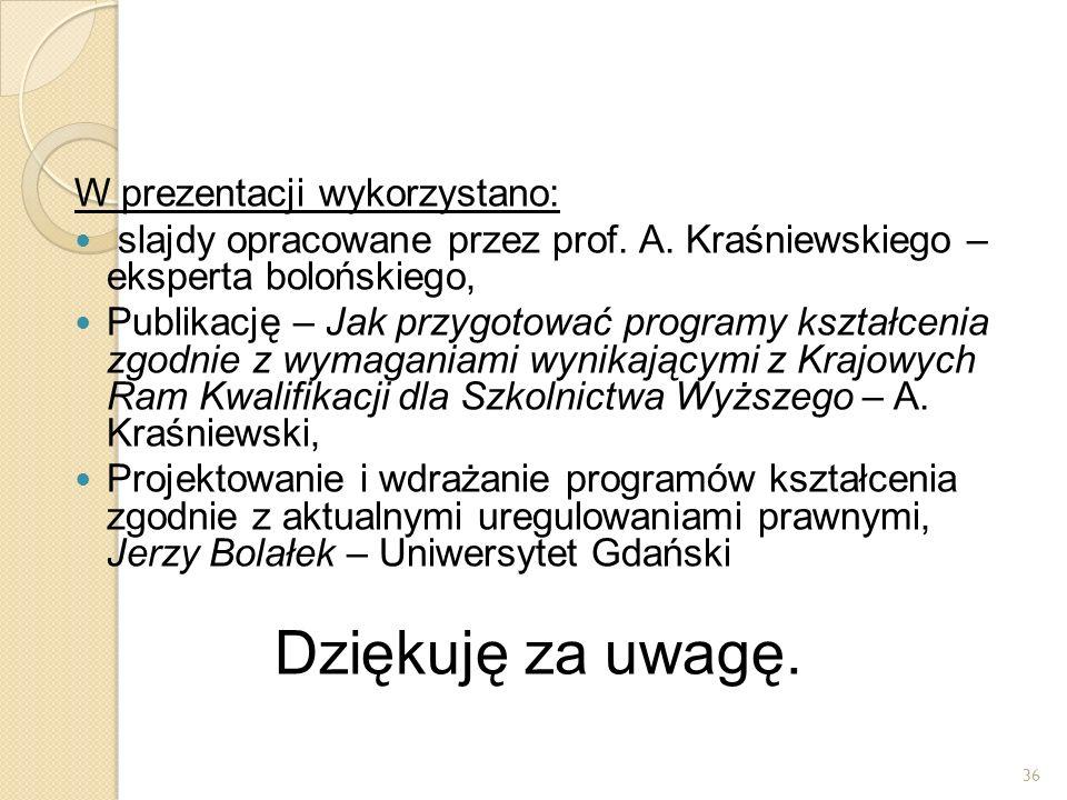 W prezentacji wykorzystano: slajdy opracowane przez prof. A. Kraśniewskiego – eksperta bolońskiego, Publikację – Jak przygotować programy kształcenia