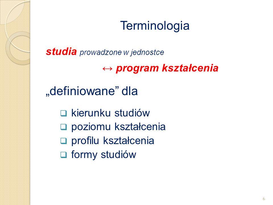 """studia prowadzone w jednostce ↔ program kształcenia """"definiowane"""" dla  kierunku studiów  poziomu kształcenia  profilu kształcenia  formy studiów T"""