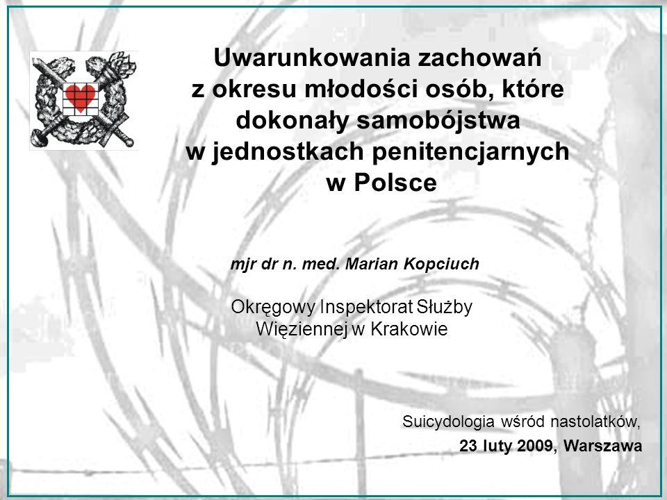 Uwarunkowania zachowań z okresu młodości osób, które dokonały samobójstwa w jednostkach penitencjarnych w Polsce mjr dr n.