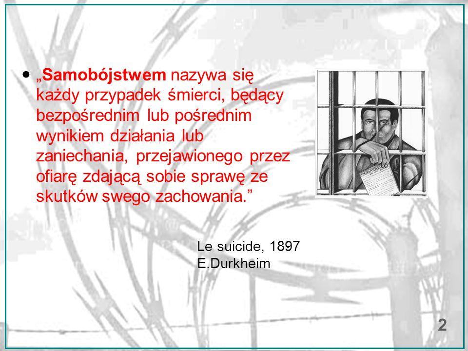 """""""Samobójstwem nazywa się każdy przypadek śmierci, będący bezpośrednim lub pośrednim wynikiem działania lub zaniechania, przejawionego przez ofiarę zdającą sobie sprawę ze skutków swego zachowania. ● Le suicide, 1897 E.Durkheim 2"""