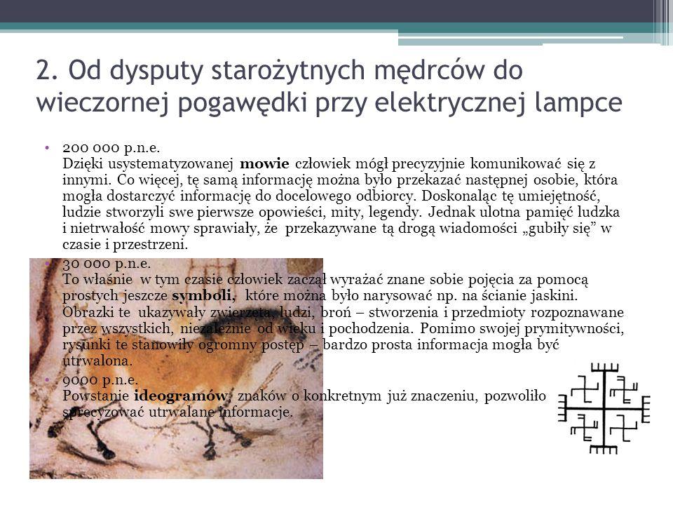 2. Od dysputy starożytnych mędrców do wieczornej pogawędki przy elektrycznej lampce 200 000 p.n.e.