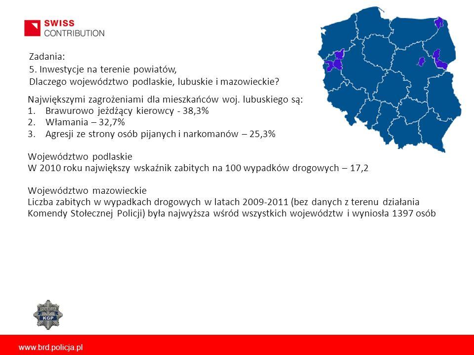 www.brd.policja.pl Zadania: 5. Inwestycje na terenie powiatów, Dlaczego województwo podlaskie, lubuskie i mazowieckie? Największymi zagrożeniami dla m