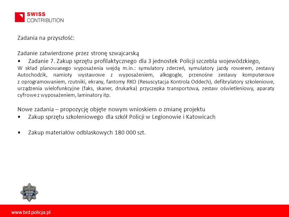 Zadania na przyszłość: Zadanie zatwierdzone przez stronę szwajcarską Zadanie 7. Zakup sprzętu profilaktycznego dla 3 jednostek Policji szczebla wojewó