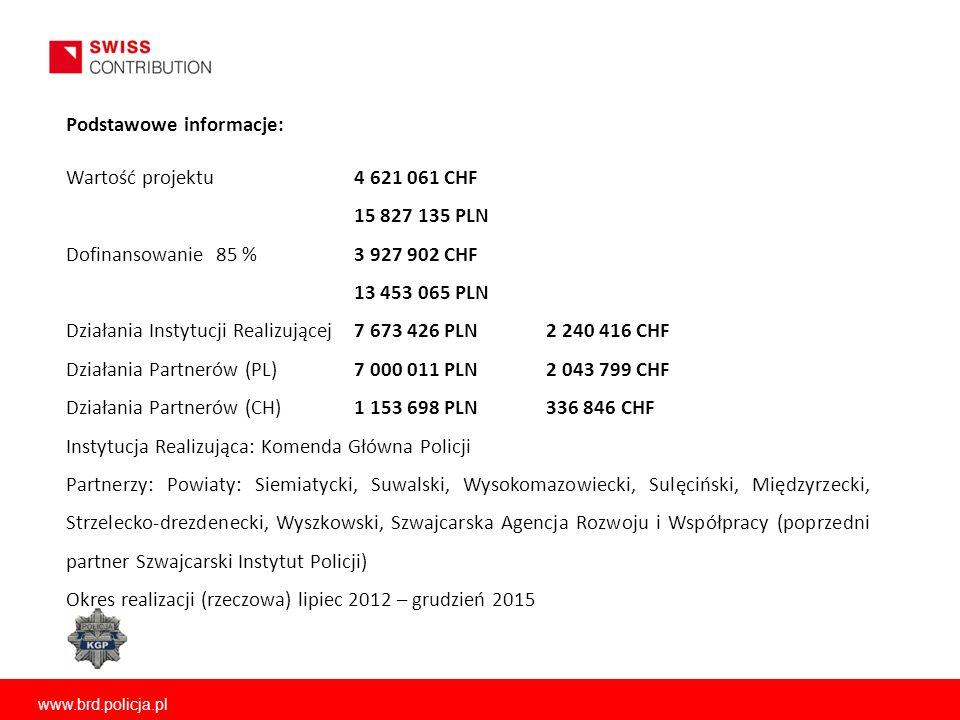 www.brd.policja.pl Wartość projektu 4 621 061 CHF 15 827 135 PLN Dofinansowanie 85 % 3 927 902 CHF 13 453 065 PLN Działania Instytucji Realizującej7 6