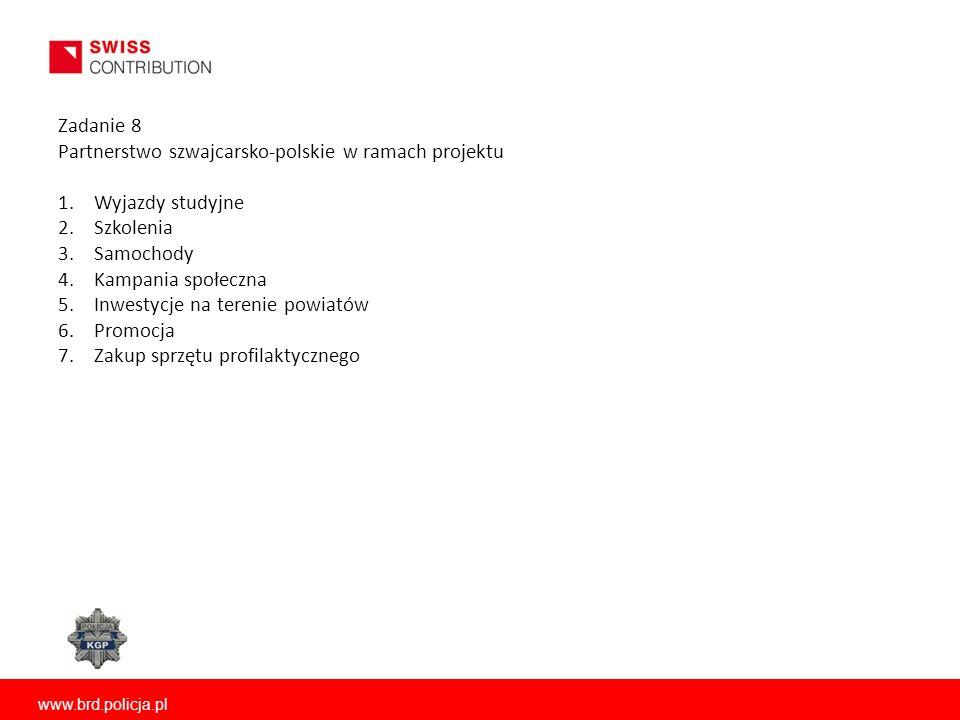 www.brd.policja.pl Zadanie 8 Partnerstwo szwajcarsko-polskie w ramach projektu 1.Wyjazdy studyjne 2.Szkolenia 3.Samochody 4.Kampania społeczna 5.Inwestycje na terenie powiatów 6.Promocja 7.Zakup sprzętu profilaktycznego