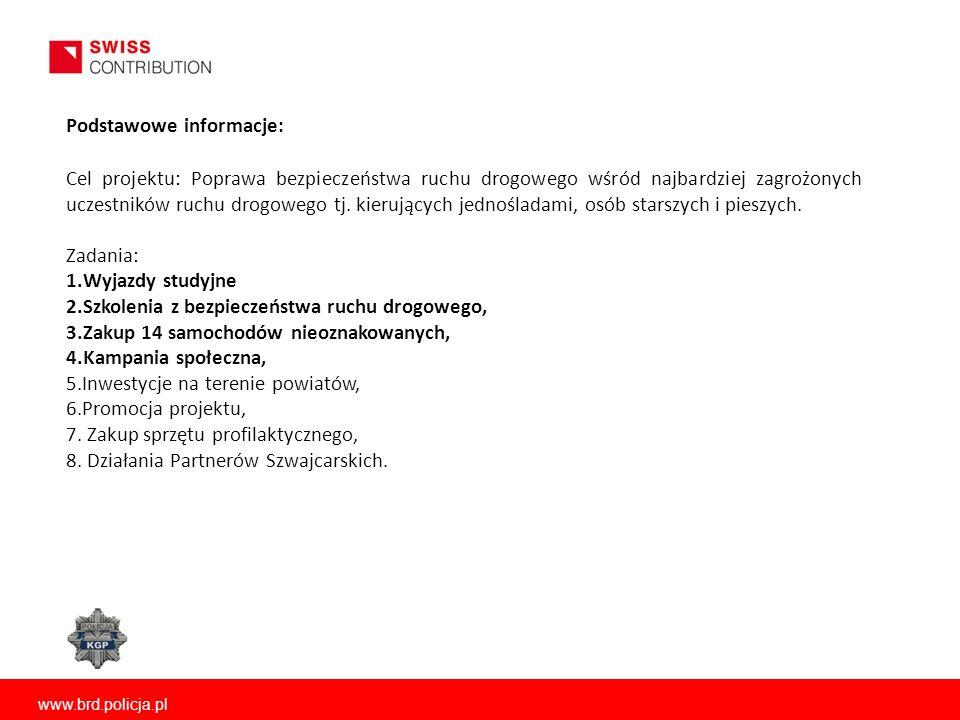 www.brd.policja.pl Podstawowe informacje: Cel projektu: Poprawa bezpieczeństwa ruchu drogowego wśród najbardziej zagrożonych uczestników ruchu drogowe