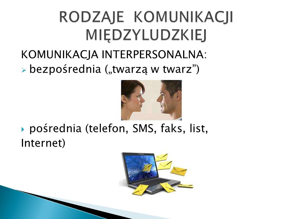 """KOMUNIKACJA INTERPERSONALNA:  bezpośrednia (""""twarzą w twarz )  pośrednia (telefon, SMS, faks, list, Internet)"""