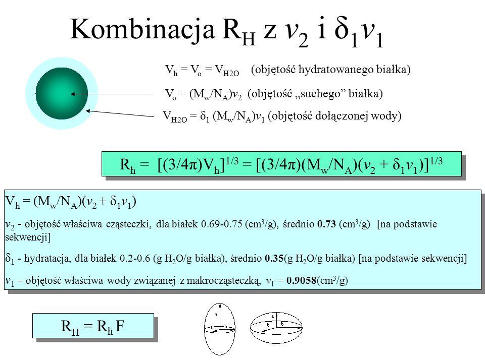 V h = (M w /N A )(v 2 + δ 1 v 1 ) v 2 - objętość właściwa cząsteczki, dla białek 0.69-0.75 (cm 3 /g), średnio 0.73 (cm 3 /g) [na podstawie sekwencji]