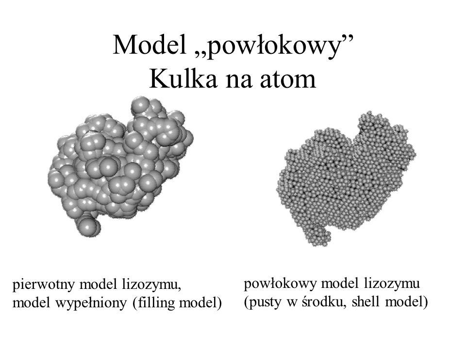 """Model """"powłokowy"""" Kulka na atom powłokowy model lizozymu (pusty w środku, shell model) pierwotny model lizozymu, model wypełniony (filling model)"""