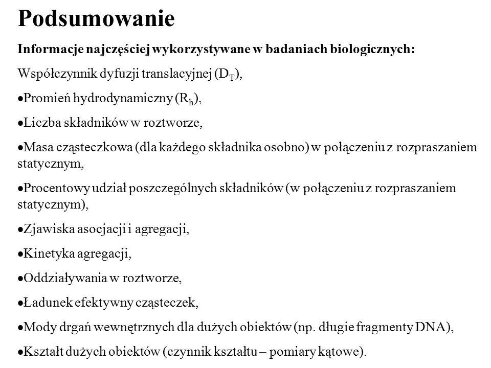Podsumowanie Informacje najczęściej wykorzystywane w badaniach biologicznych: Współczynnik dyfuzji translacyjnej (D T ),  Promień hydrodynamiczny (R