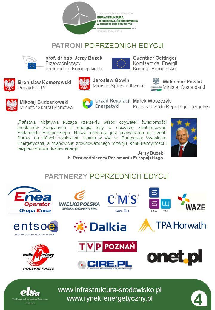 """www.infrastruktura-srodowisko.pl www.rynek-energetyczny.pl Jerzy Buzek b. Przewodniczący Parlamentu Europejskiego """"Państwa inicjatywa służąca szerzeni"""