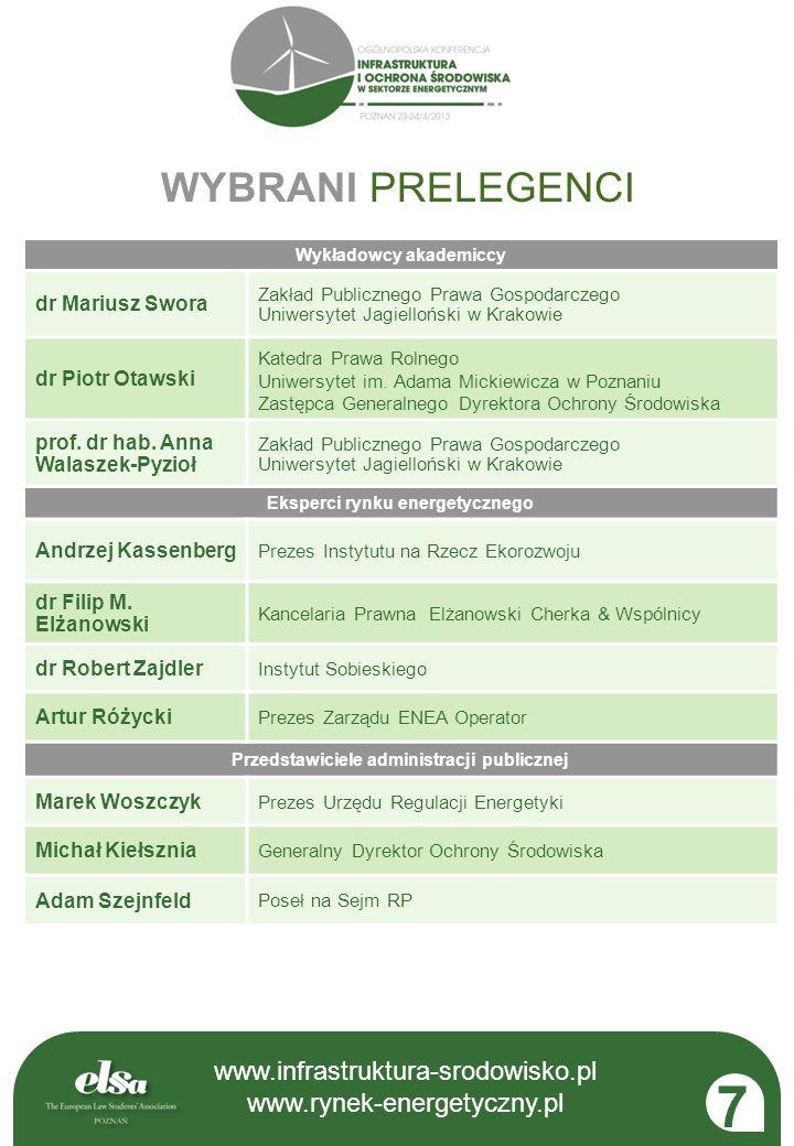 www.infrastruktura-srodowisko.pl www.rynek-energetyczny.pl www.infrastruktura-srodowisko.pl www.rynek-energetyczny.pl 7 Wykładowcy akademiccy dr Mariu
