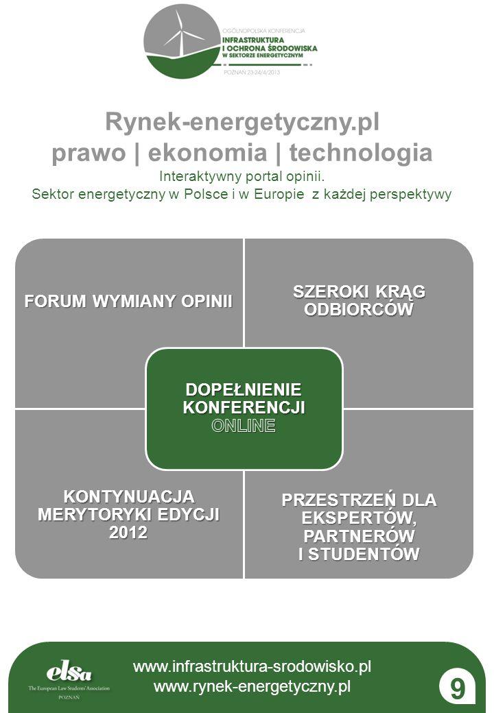 www.infrastruktura-srodowisko.pl www.rynek-energetyczny.pl FORUM WYMIANY OPINII SZEROKI KRĄG ODBIORCÓW KONTYNUACJA MERYTORYKI EDYCJI 2012 PRZESTRZEŃ D