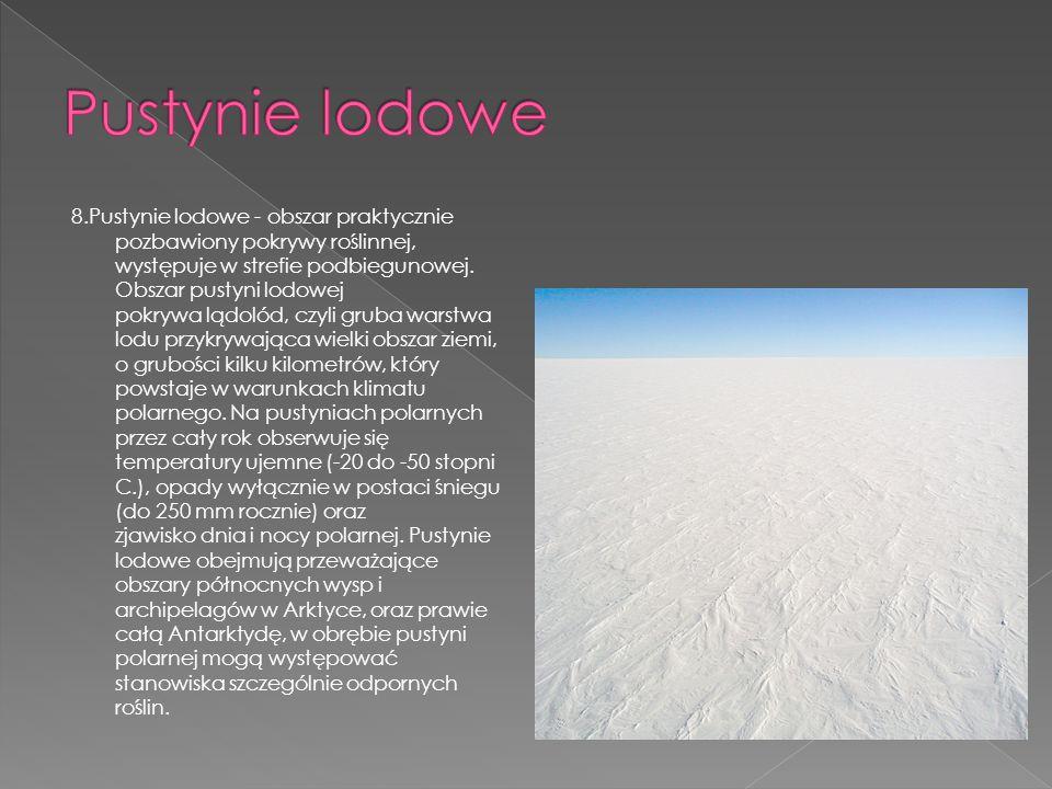 8.Pustynie lodowe - obszar praktycznie pozbawiony pokrywy roślinnej, występuje w strefie podbiegunowej. Obszar pustyni lodowej pokrywa lądolód, czyli