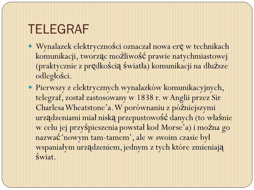 TELEGRAF Wynalazek elektryczno ś ci oznaczał nowa er ę w technikach komunikacji, tworz ą c mo ż liwo ść prawie natychmiastowej (praktycznie z pr ę dko