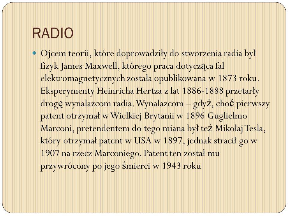 RADIO Ojcem teorii, które doprowadziły do stworzenia radia był fizyk James Maxwell, którego praca dotycz ą ca fal elektromagnetycznych została opublik