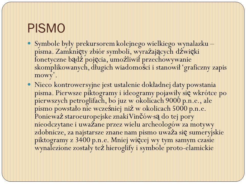 PISMO Symbole były prekursorem kolejnego wielkiego wynalazku – pisma. Zamkni ę ty zbiór symboli, wyra ż aj ą cych d ź wi ę ki fonetyczne b ą d ź poj ę