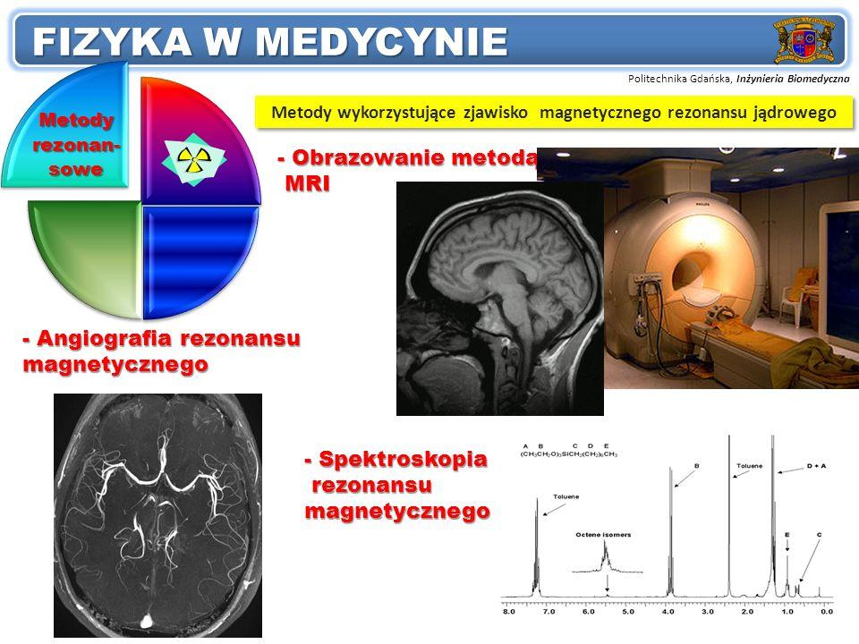 Politechnika Gdańska, Inżynieria Biomedyczna Przedmiot: FIZYKA W MEDYCYNIE 4 Metody rezonan- sowe - Obrazowanie metodą MRI MRI - Angiografia rezonansu