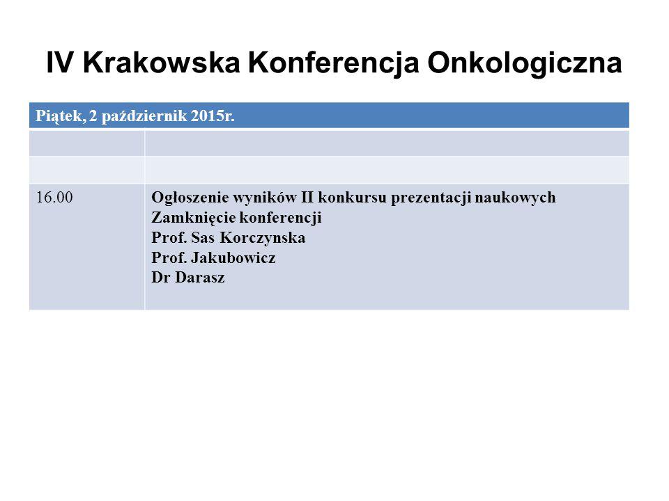 IV Krakowska Konferencja Onkologiczna Piątek, 2 październik 2015r. 16.00Ogłoszenie wyników II konkursu prezentacji naukowych Zamknięcie konferencji Pr