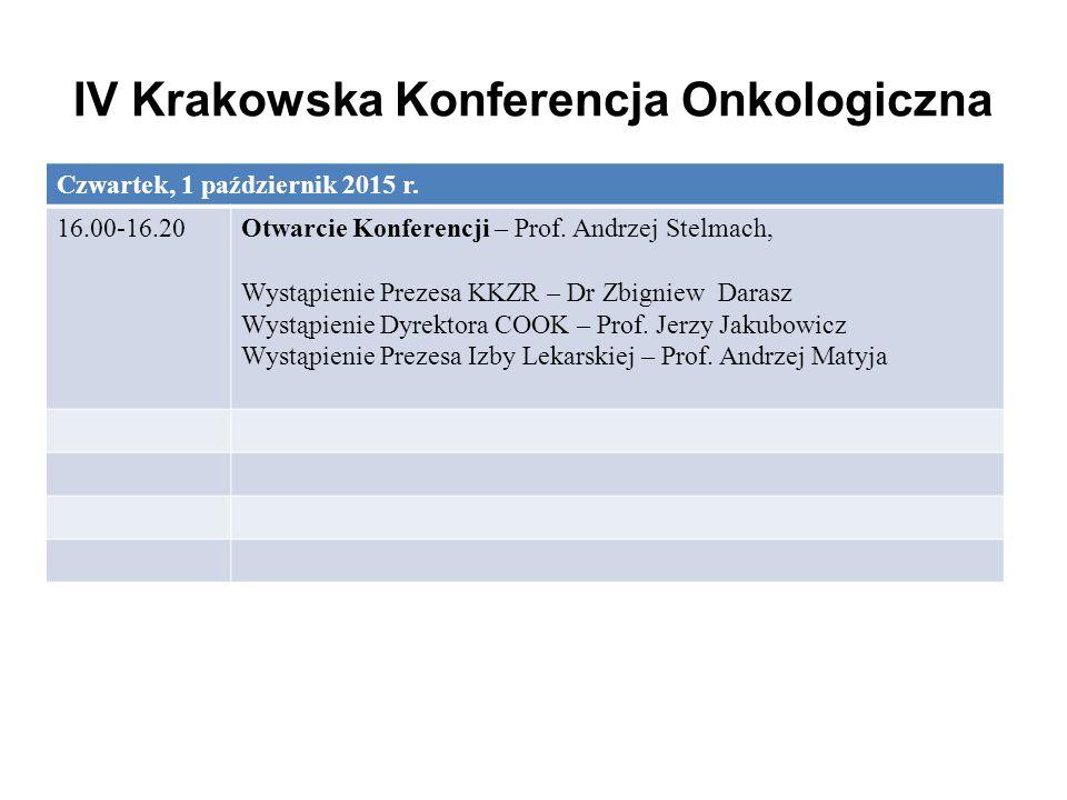 IV Krakowska Konferencja Onkologiczna Czwartek, 1 październik 2015 r. 16.00-16.20Otwarcie Konferencji – Prof. Andrzej Stelmach, Wystąpienie Prezesa KK