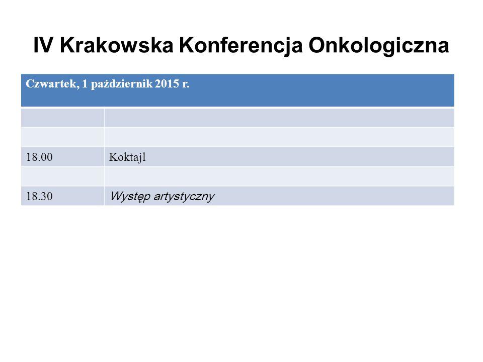 IV Krakowska Konferencja Onkologiczna Czwartek, 1 październik 2015 r. 18.00Koktajl 18.30 Występ artystyczny