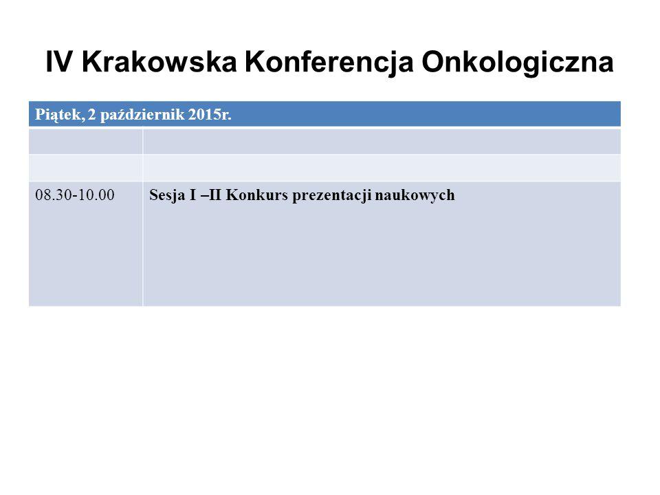 IV Krakowska Konferencja Onkologiczna Piątek, 2 październik 2015r. 08.30-10.00Sesja I –II Konkurs prezentacji naukowych