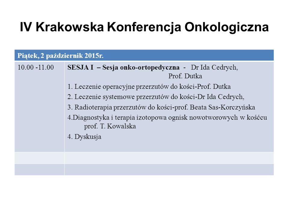 IV Krakowska Konferencja Onkologiczna Piątek, 2 październik 2015r. 10.00 -11.00SESJA I – Sesja onko-ortopedyczna - Dr Ida Cedrych, Prof. Dutka 1. Lecz