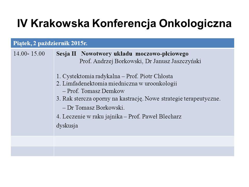 IV Krakowska Konferencja Onkologiczna Piątek, 2 październik 2015r. 14.00- 15.00Sesja II Nowotwory układu moczowo-płciowego Prof. Andrzej Borkowski, Dr