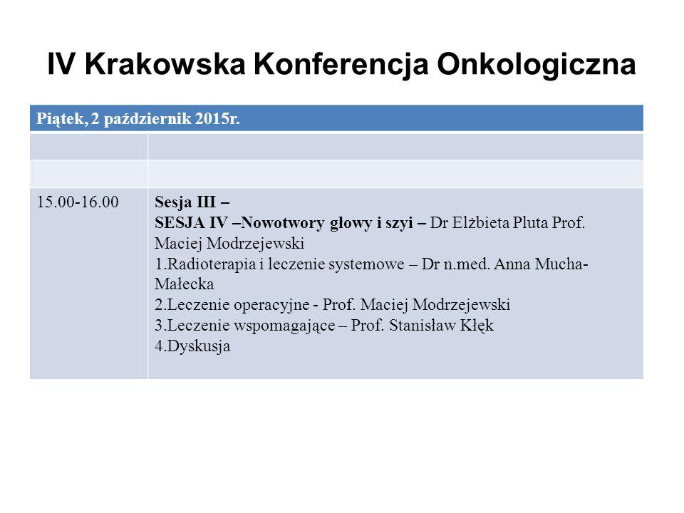 IV Krakowska Konferencja Onkologiczna Piątek, 2 październik 2015r. 15.00-16.00Sesja III – SESJA IV –Nowotwory głowy i szyi – Dr Elżbieta Pluta Prof. M