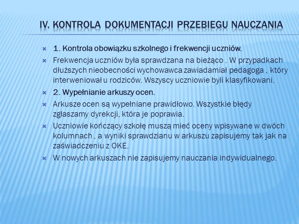  1. Kontrola obowiązku szkolnego i frekwencji uczniów.