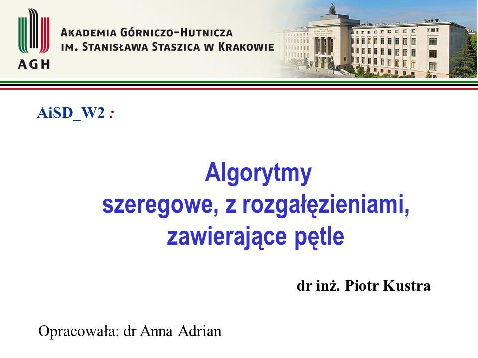 Algorytmy szeregowe, z rozgałęzieniami, zawierające pętle Opracowała: dr Anna Adrian AiSD_W2 : dr inż. Piotr Kustra