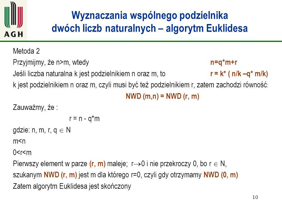 10 Wyznaczania wspólnego podzielnika dwóch liczb naturalnych – algorytm Euklidesa Metoda 2 Przyjmijmy, że n>m, wtedy n=q*m+r Jeśli liczba naturalna k