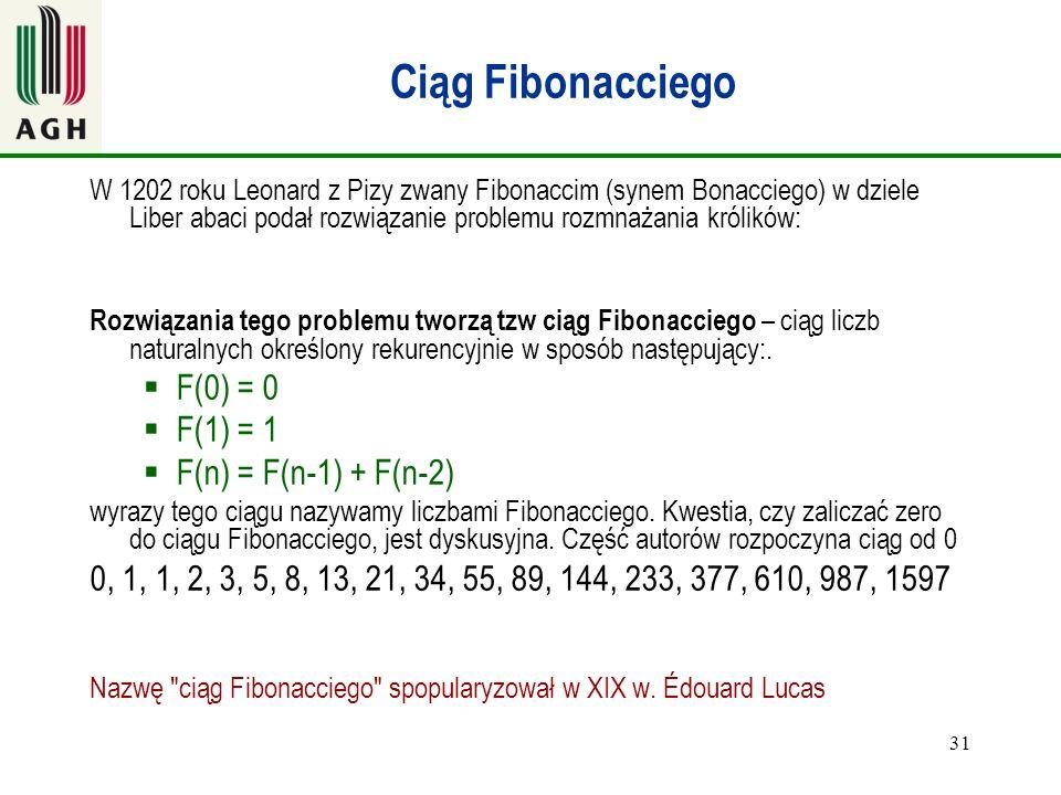 31 Ciąg Fibonacciego W 1202 roku Leonard z Pizy zwany Fibonaccim (synem Bonacciego) w dziele Liber abaci podał rozwiązanie problemu rozmnażania królik