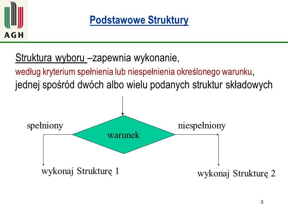 8 Podstawowe Struktury warunek Struktura wyboru –zapewnia wykonanie, według kryterium spełnienia lub niespełnienia określonego warunku, jednej spośród