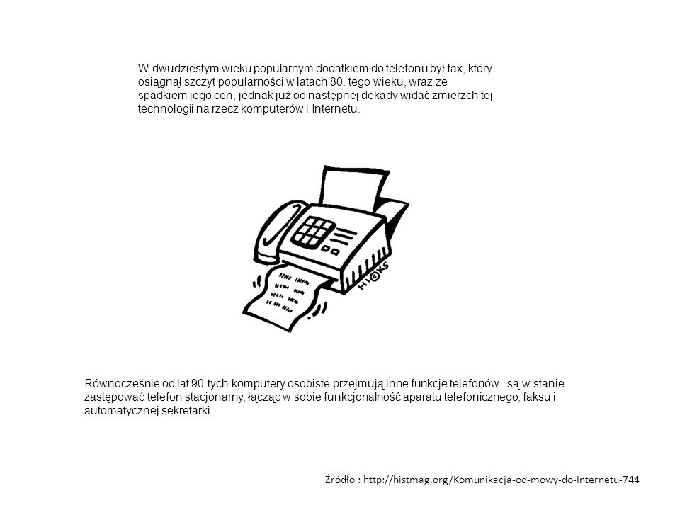 W dwudziestym wieku popularnym dodatkiem do telefonu był fax, który osiągnął szczyt popularności w latach 80. tego wieku, wraz ze spadkiem jego cen, j