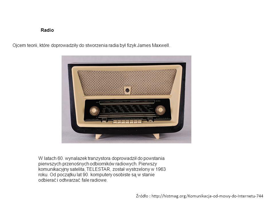 Radio Ojcem teorii, które doprowadziły do stworzenia radia był fizyk James Maxwell. W latach 60. wynalazek tranzystora doprowadził do powstania pierws