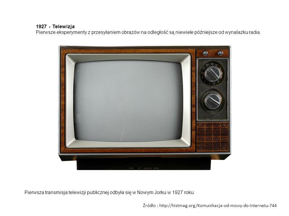 1927 - Telewizja Pierwsze eksperymenty z przesyłaniem obrazów na odległość są niewiele późniejsze od wynalazku radia. Pierwsza transmisja telewizji pu