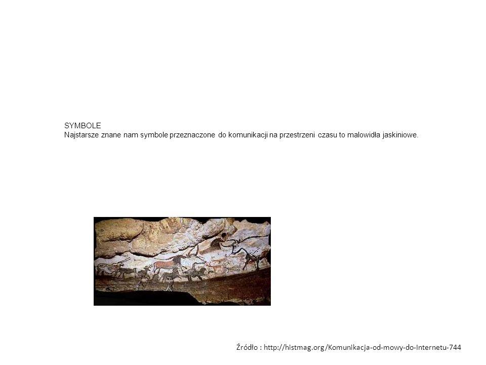SYMBOLE Najstarsze znane nam symbole przeznaczone do komunikacji na przestrzeni czasu to malowidła jaskiniowe. Źródło : http://histmag.org/Komunikacja